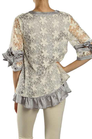 Floral Crochet Overlay Top with Ribbon Sleeve Detail