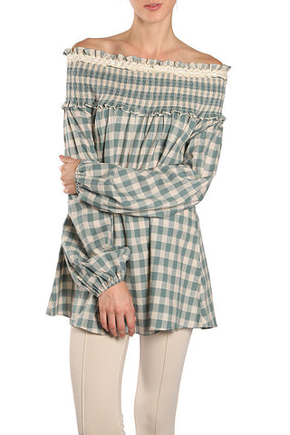 Smocked Off Shoulder Checker Top