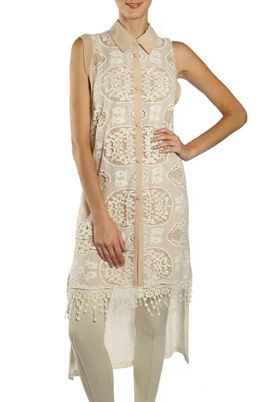 Sleeveless Lace Maxi Top with Step Hem