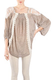 Blouson Top with Crochet Panels