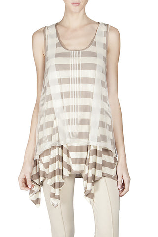 Striped Tank Top with Lace Overlay