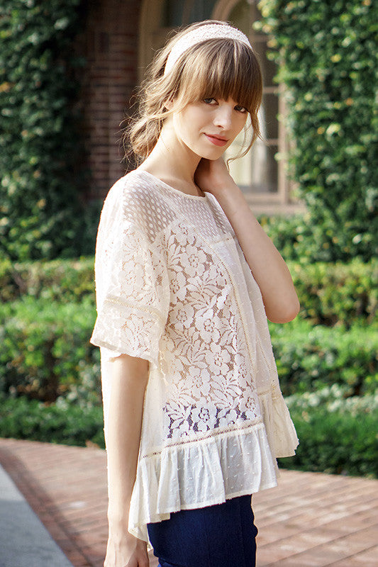 Lace Contrast Top with Ruffle Hem