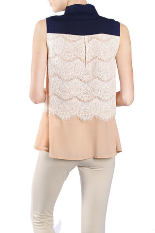 Lace Layered Button Up Top with Self Tie Neckline