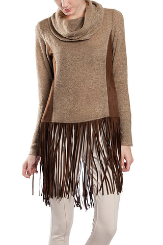 Fringe Hem Faux Sweater Contrast Sweater with Cowl Neck