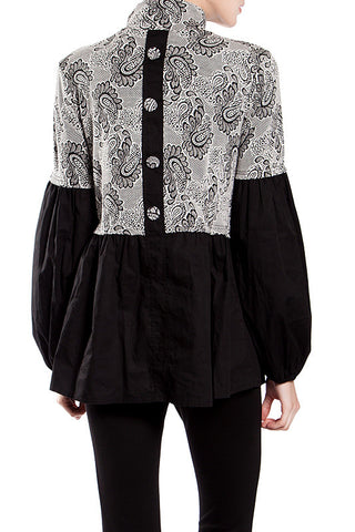 Button Back Paisley Print High Neck Blouse