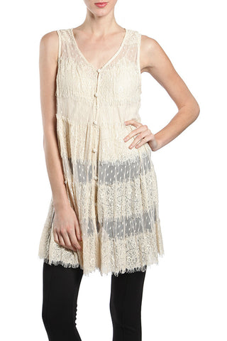 See Through Lace Button Up Vest