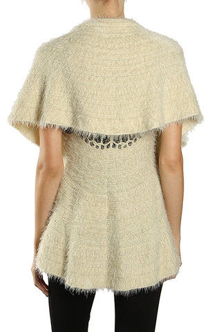 Feathered Poncho Sweater Top with Pompom Closure