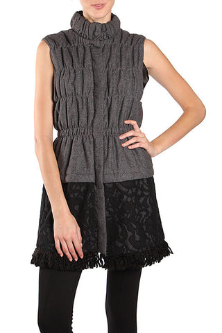 Sweater Vest with Lace Bottom