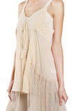 Spaghetti Strap Embroidered Top with Asymmetrical Hem