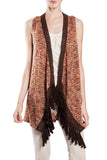 Fringed Multi Colored Vest with Crochet Trim
