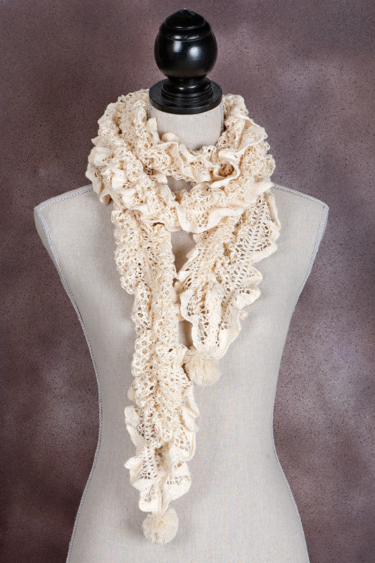 Ruffled Long Lace Scarf with Pompoms