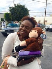 Warmkins, LAPD Community Outreach - Congregational Church Member Hugs Hugo - Rock of The Valley COGIC