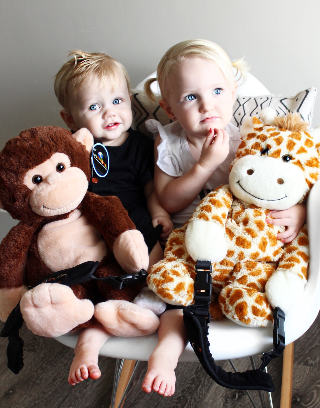 Warmkins Hugo Monkey, Winston Giraffe Adorable Blue eyed children snuggle up therapeutic weighted sensory plush stuffed animals microwavable healing hugs