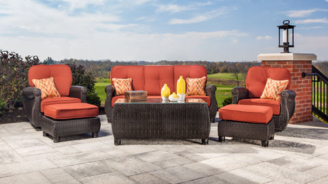 Breckenridge Sofa, Cofee Table, Swivel Rockers and Ottomans