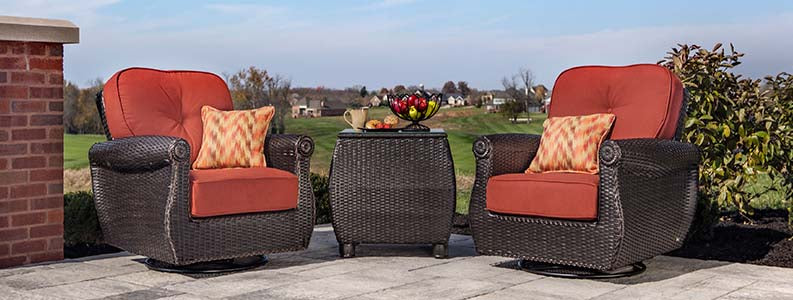 Breckenridge 3 Piece Patio Furniture Set: 2 Swivel Rockers (Brick Red) and Side Table