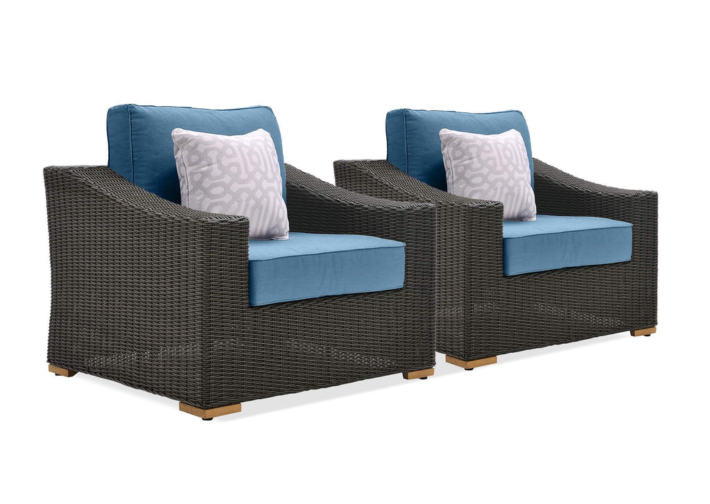 New Boston Wicker Patio Lounge Chairs (Denim Blue, 2 Pack)