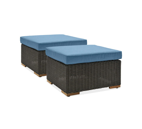 New Boston Outdoor Patio Ottomans (Denim Blue, Wicker, 2 Pack)