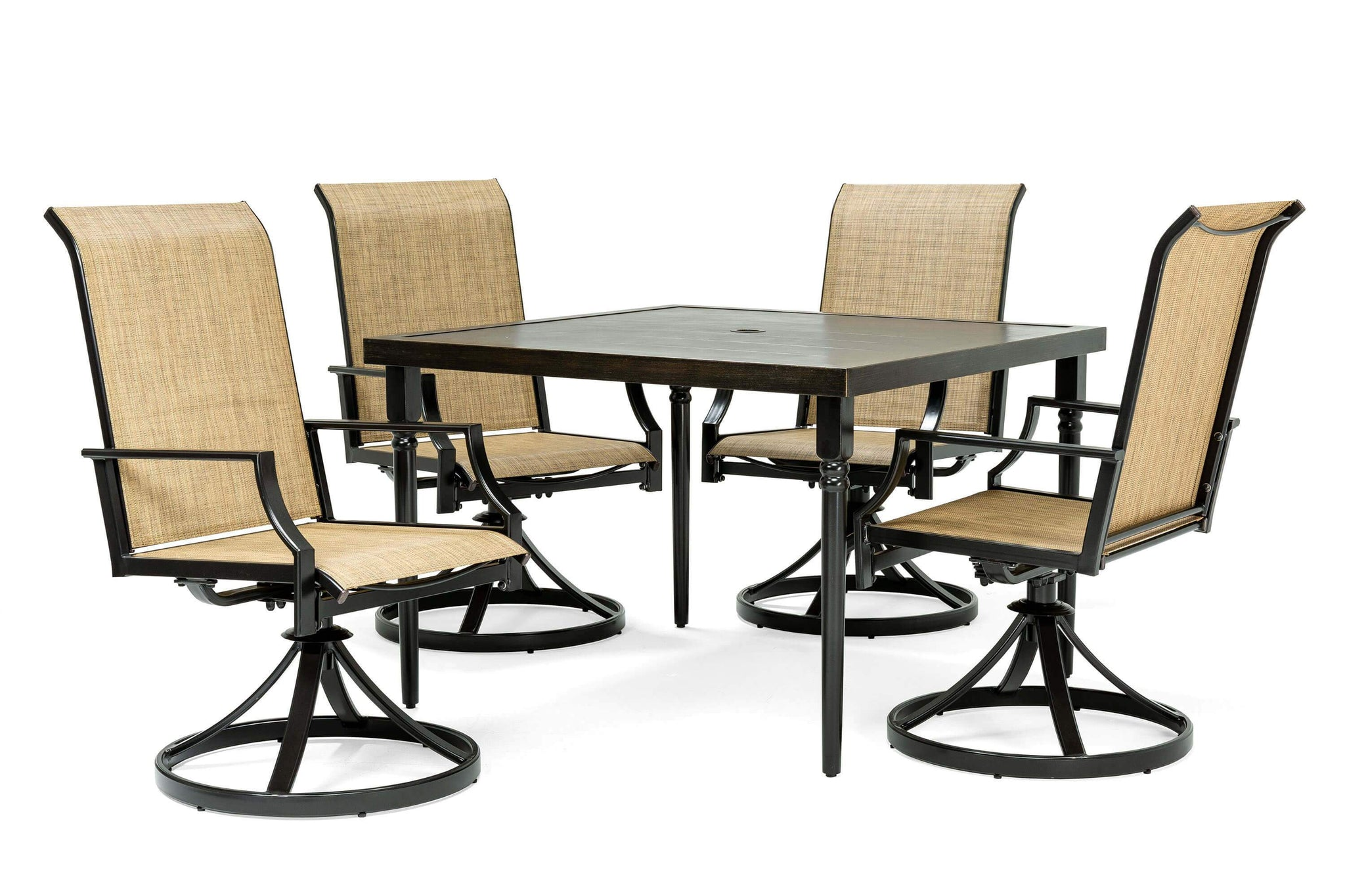 Picture of: Addyson 5pc Sling Dining Set Square Dining Table And 4 Swivel Chairs La Z Boy Outdoor