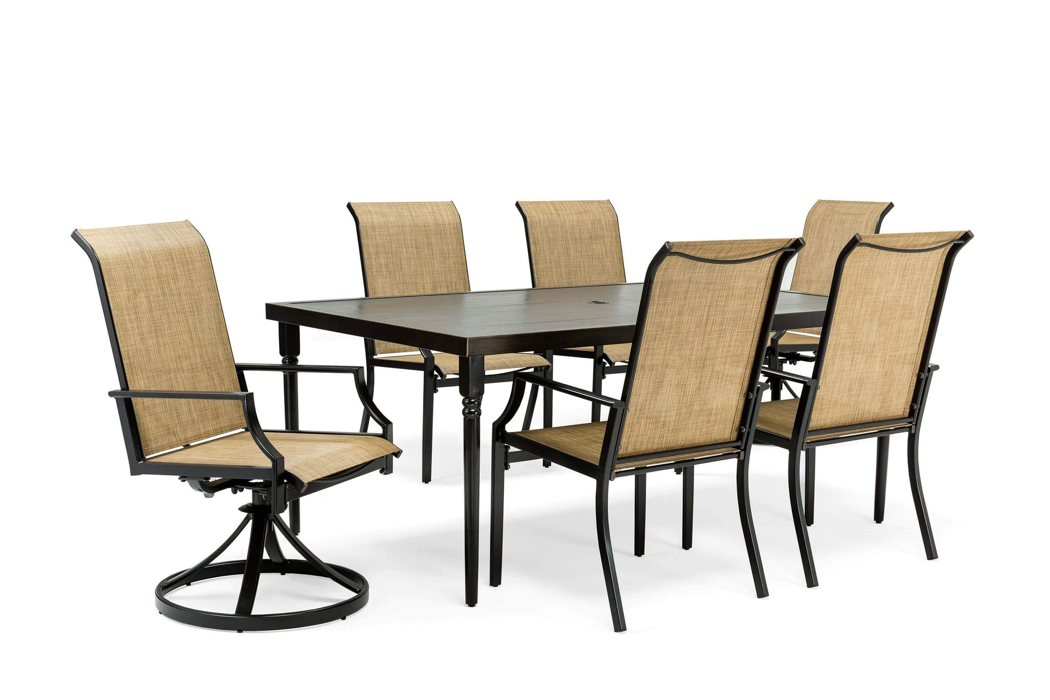 Brilliant Addyson 7Pc Sling Dining Set Rectangular Table 4 Stationary Chairs 2 Swivel Chairs Evergreenethics Interior Chair Design Evergreenethicsorg