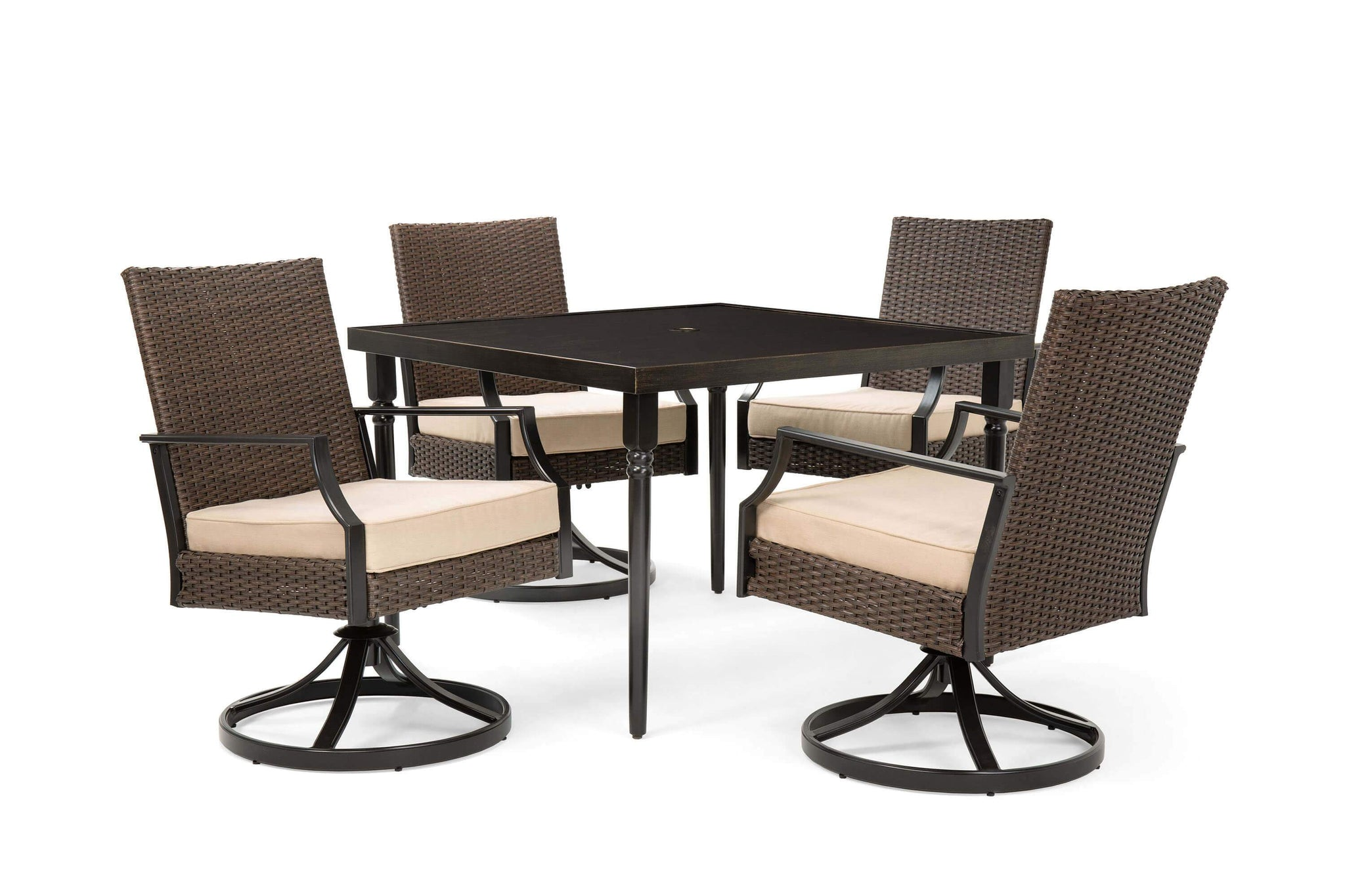 Picture of: Addyson 5pc Cushioned Dining Set Square Dining Table And 4 Swivel Cha La Z Boy Outdoor