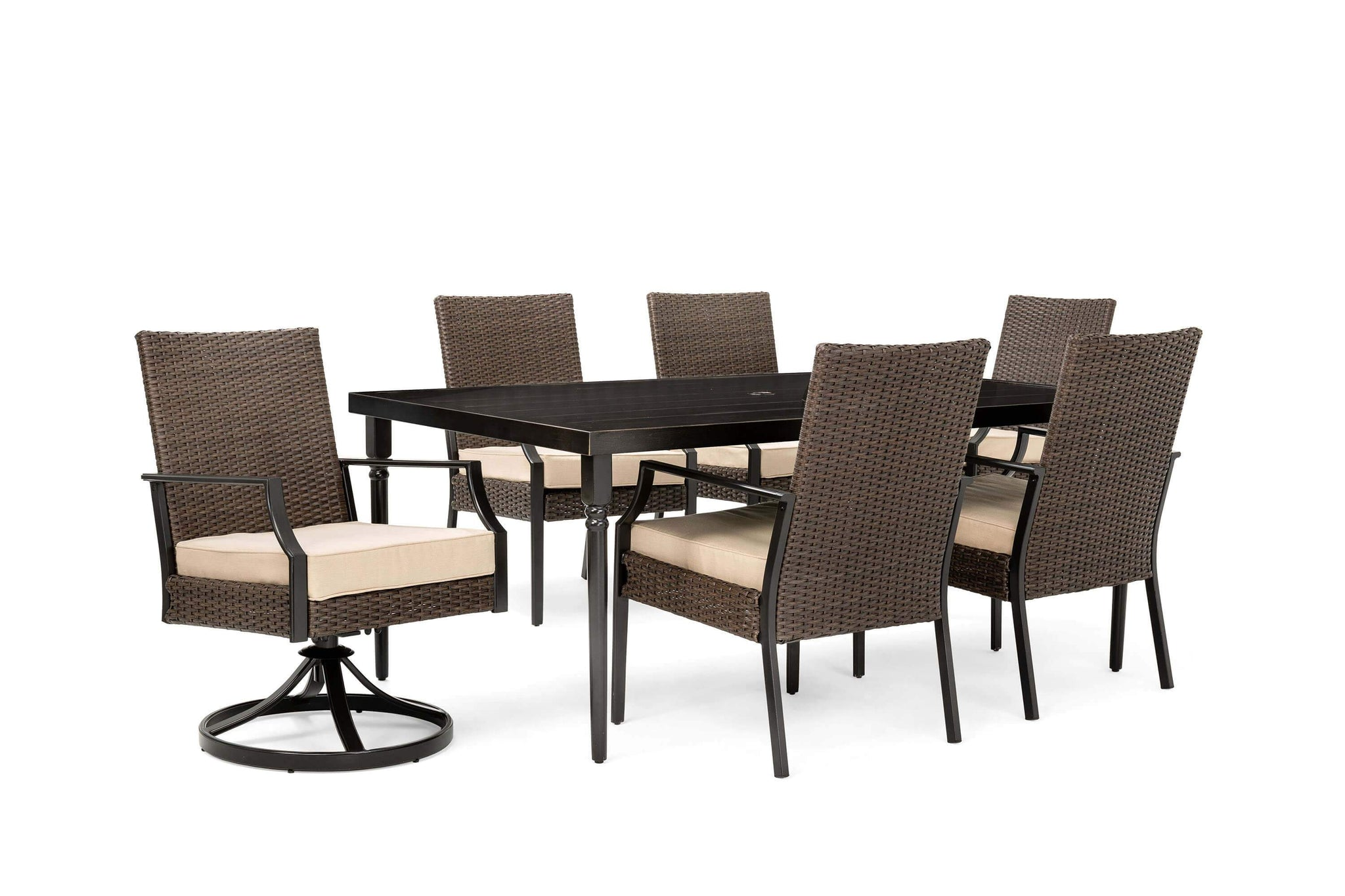 Amazing Addyson 7Pc Cushioned Dining Set Rectangular Table 4 Stationary Chairs 2 Swivel Chairs Evergreenethics Interior Chair Design Evergreenethicsorg