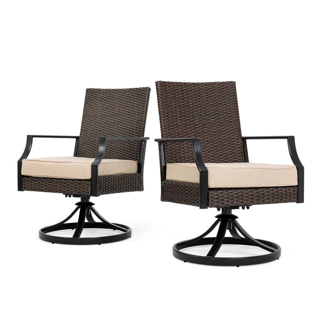 Addyson Woven Cushioned Swivel Dining Chair 2 Pack