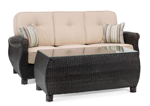 Breckenridge Outdoor Sofa with Pillows and Coffee Table Set (Natural Tan)