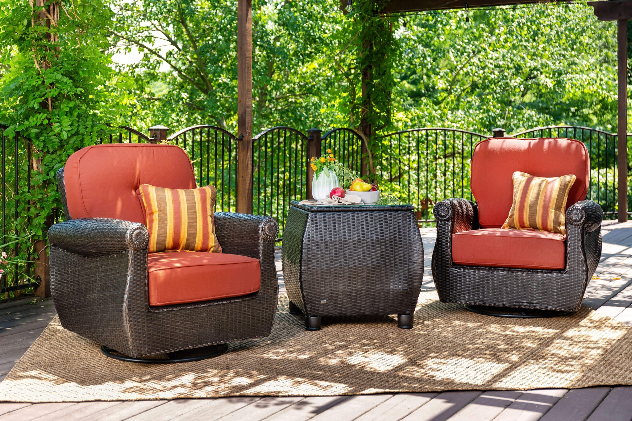 Breckenridge 3 piece patio furniture set 2 swivel rockers brick red and side table