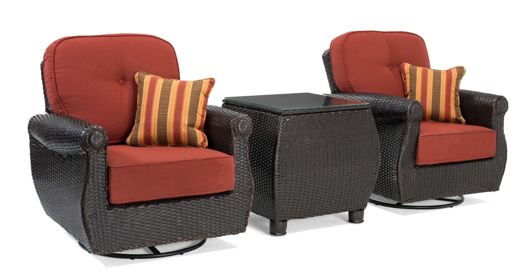 white chairs sets outdoor furniture for small spaces | Breckenridge Red 3 Pc Patio Furniture Set: 2 Swivel ...