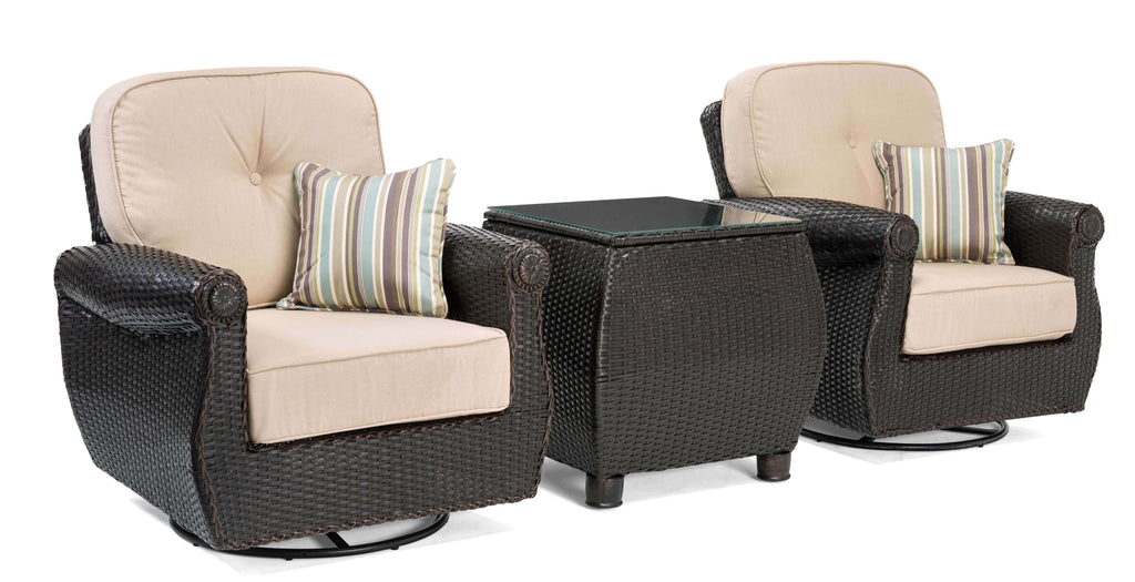 Breckenridge 3 Piece Patio Furniture Set: 2 Swivel Rockers (Natural Tan) and Side Table