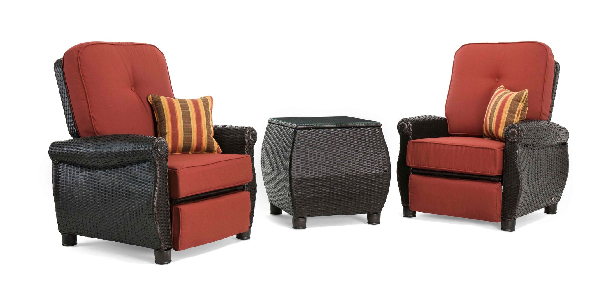 Breckenridge Red 3 Pc Patio Furniture Set Two Recliners Side