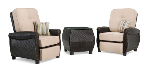 Breckenridge 3 Piece Patio Furniture Set: Two Recliners (Natural Tan) and Side Table