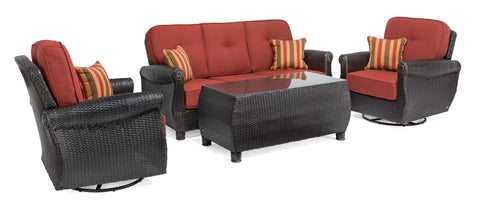 Breckenridge 4 Piece Patio Furniture Set: Two Swivel Rockers, Sofa, and Coffee Table (Brick Red)