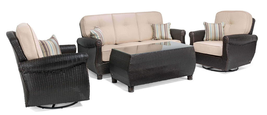 Breckenridge 4 Piece Patio Furniture Set: Two Swivel Rockers, Sofa, and Coffee Table (Natural Tan)