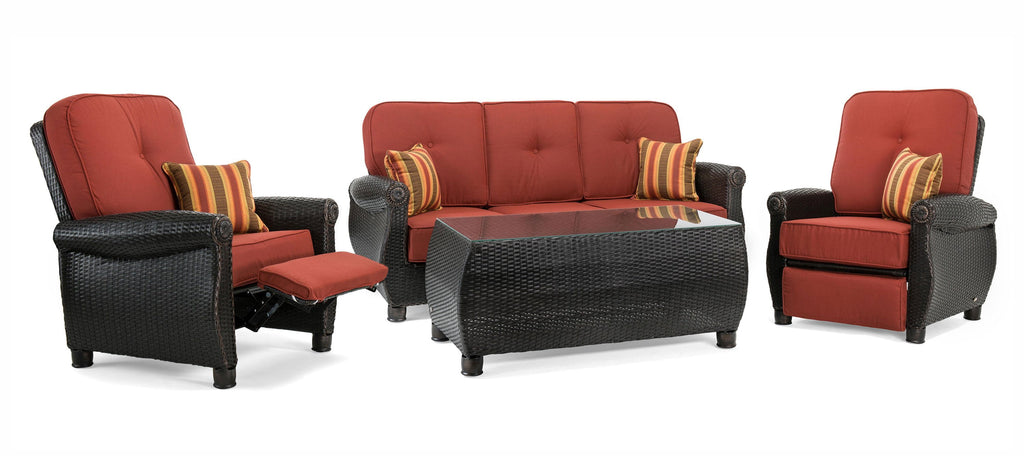 Breckenridge 4 Piece Patio Furniture Set: Two Recliners, Sofa, and Coffee Table (Brick Red)