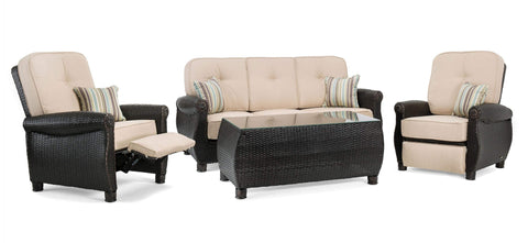 Breckenridge 4 Piece Patio Furniture Set: Two Recliners, Sofa, and Coffee Table (Natural Tan)