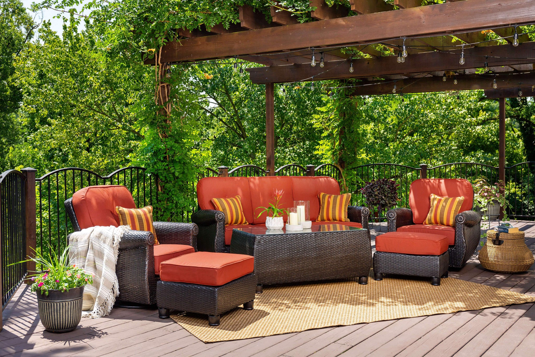 Breckenridge Red 3 Pc Patio Furniture Set 2 Swivel Rockers Side