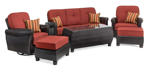 Breckenridge 6 Piece Patio Furniture Seating Set: Two Swivel Rockers, Sofa, Coffee Table, and Two Ottomans (Brick Red)