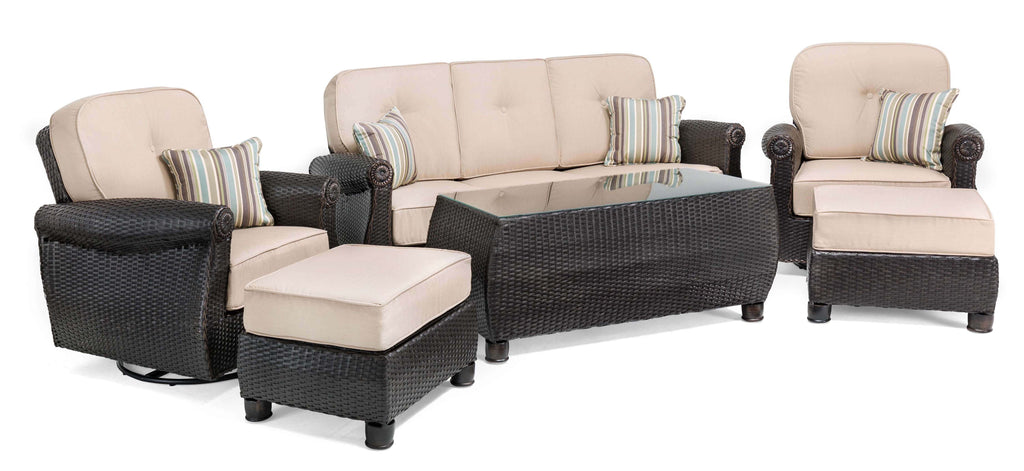 Breckenridge 6 Piece Patio Furniture Set: Two Swivel Rockers, Sofa, Coffee Table, and Two Ottomans (Natural Tan)
