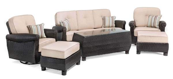 Breckenridge Tan 6 Pc Patio Furniture Set Swivel Rockers