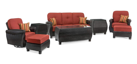Breckenridge 8 Piece Patio Furniture Seating Set: Two Swivel Rockers, Sofa, Coffee Table, Two Ottomans, Two Side Tables (Brick Red)