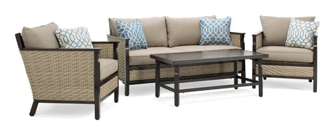 Colton 4pc Patio Furniture Set (Neutral Grey, Wicker)