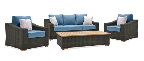 New Boston 4 Piece Wicker Patio Conversation Set: Two Lounge Chairs, Sofa and Coffee Table (Denim Blue)