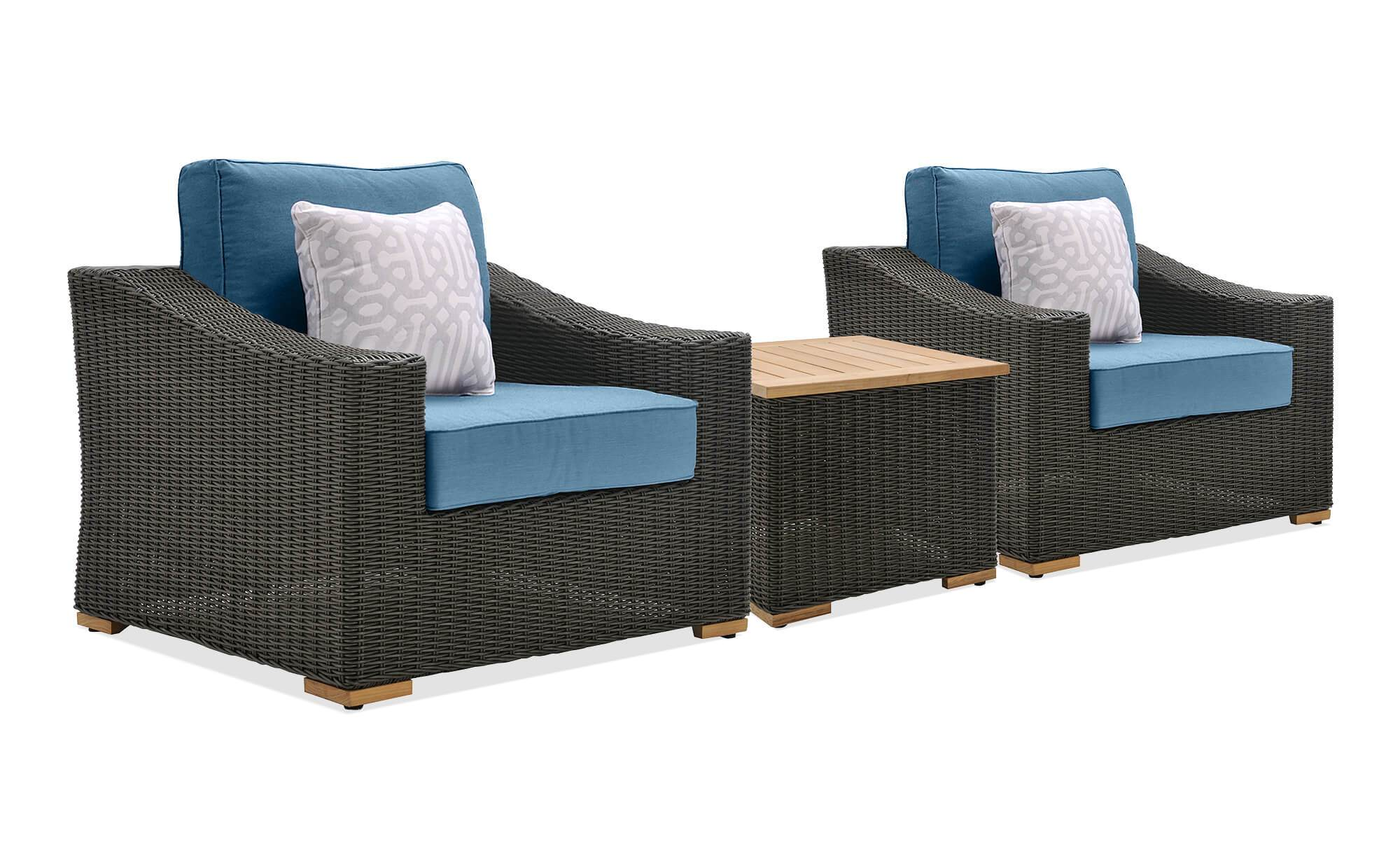 Stupendous New Boston 3 Piece Patio Conversation Set 2 Lounge Chairs Caraccident5 Cool Chair Designs And Ideas Caraccident5Info