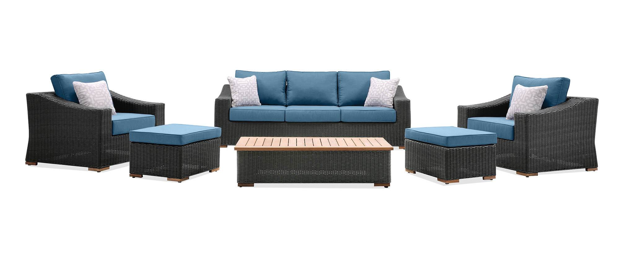 Surprising New Boston 6 Piece Patio Set Sofa 2 Lounge Chairs 2 Ncnpc Chair Design For Home Ncnpcorg