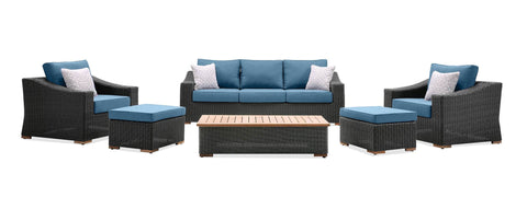 New Boston 6 Piece Wicker Patio Set: Sofa, Two Lounge Chairs, Two Ottomans and Coffee Table (Denim Blue)