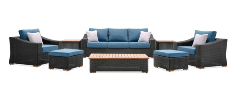 New Boston 8 Piece Wicker Patio Set: Sofa, Two Lounge Chairs, Two Ottomans, Coffee Table and Two Side Tables (Denim Blue)