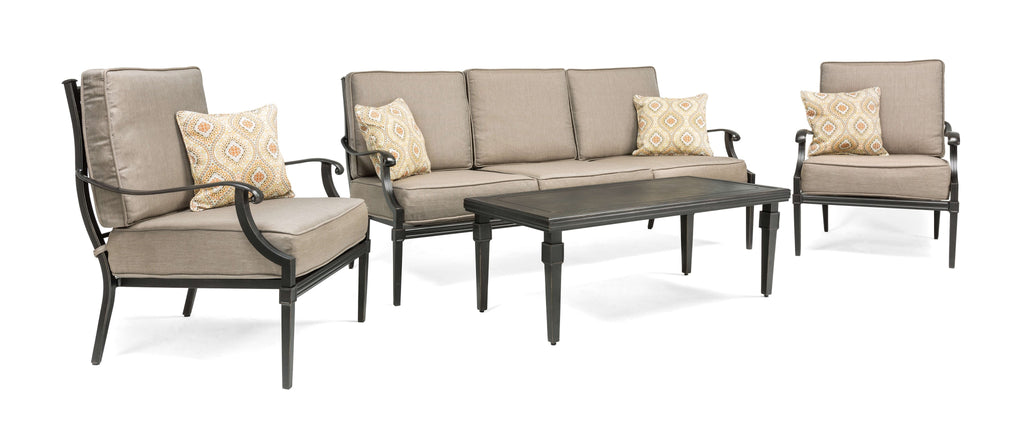 Lila 4 Piece Patio Furniture Conversation Set (Grey, Aluminum): Includes Sofa, 2 Lounge Chairs, and Coffee Table