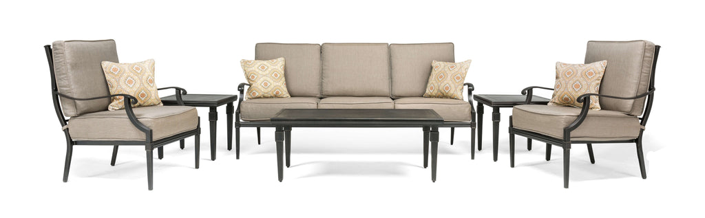 Lila 6 Piece Patio Furniture Conversation Set (Grey, Aluminum): Includes Sofa, 2 Lounge Chairs, Coffee Table and 2 Side Tables