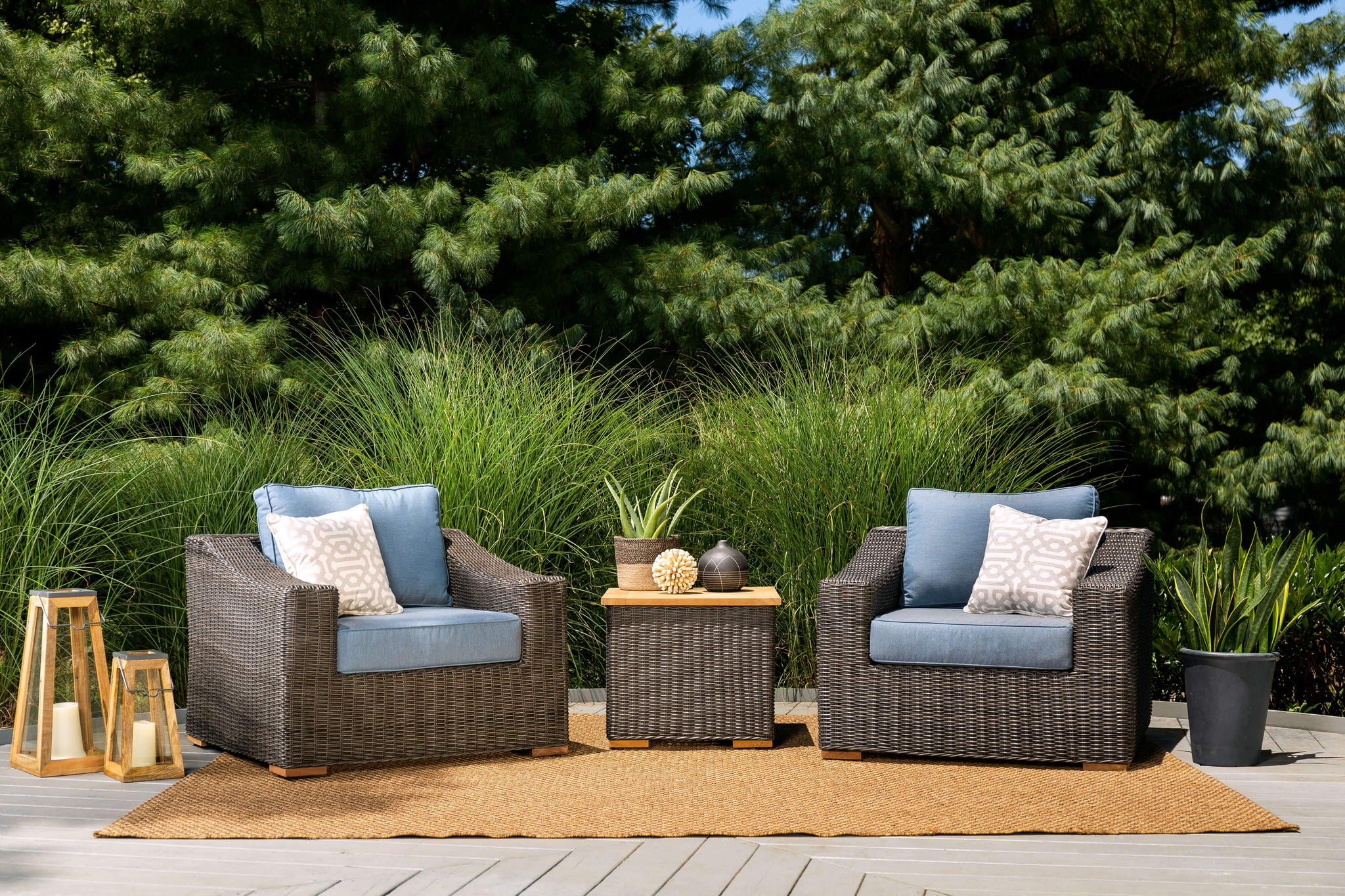 New Boston 3 Piece Wicker Patio Conversation Set: 2 Lounge Chairs And Side  Table (Denim Blue)